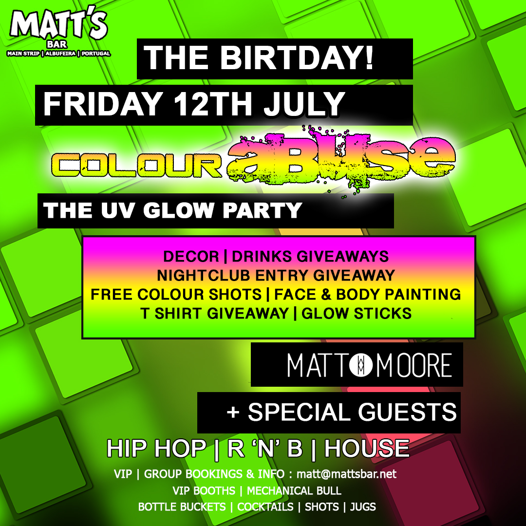 MATT'S BAR 19TH BIRTHDAY – UV GLOW PARTY
