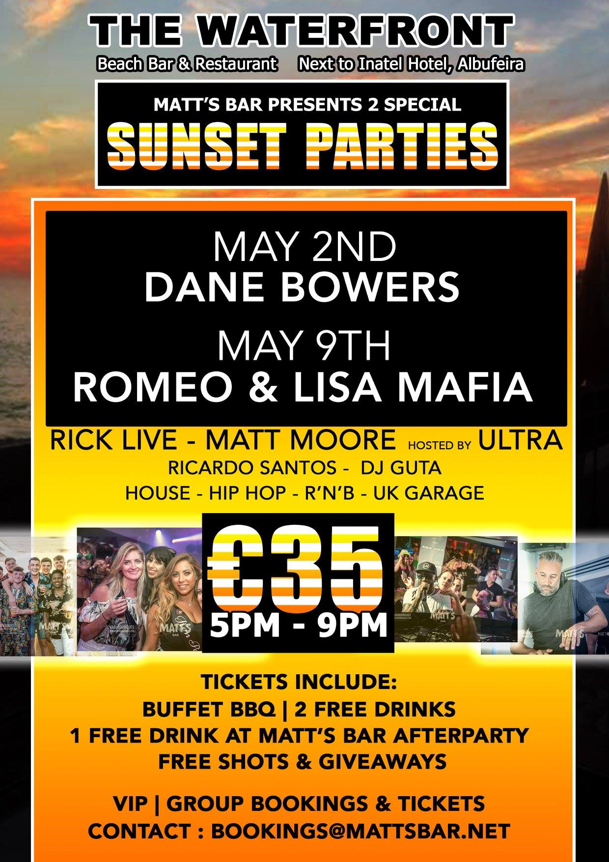 SUNSET PARTY SPECIAL EVENT – DANE BOWERS
