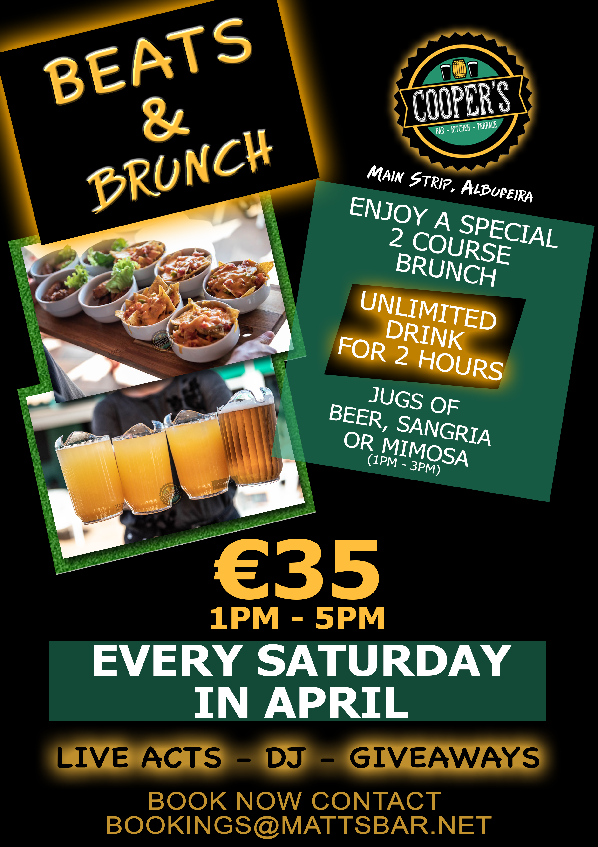 BEATS & BRUNCH – EVERY SATURDAY IN APRIL!!