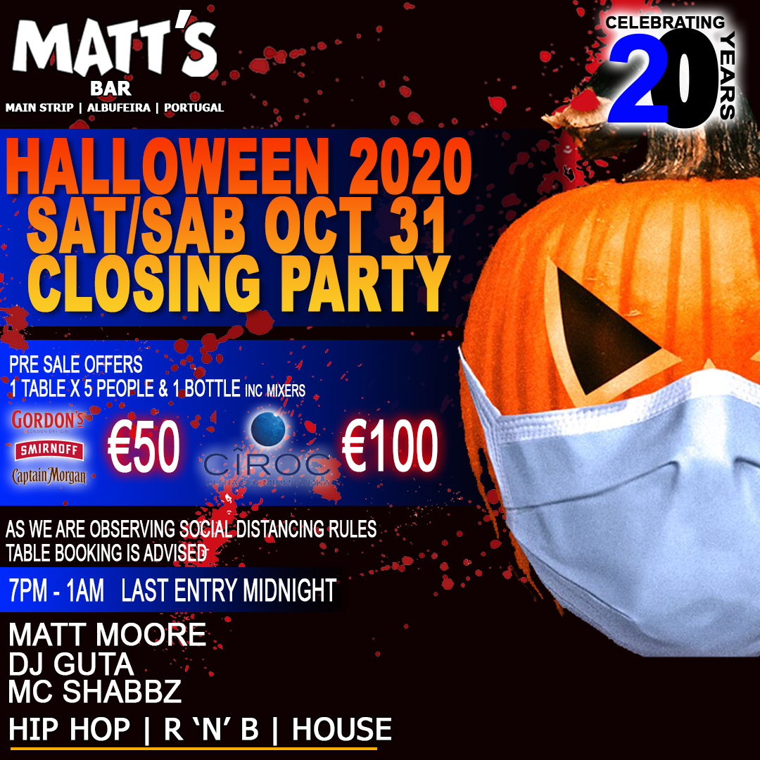 HALLOWEEN 2020 – CLOSING PARTY